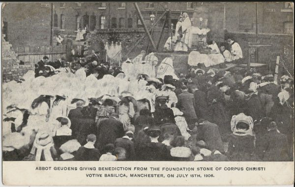 Abbot Geudens Giving Benediction From The Foundation Stone of Corpus Christi Votive Basilica, Manchester