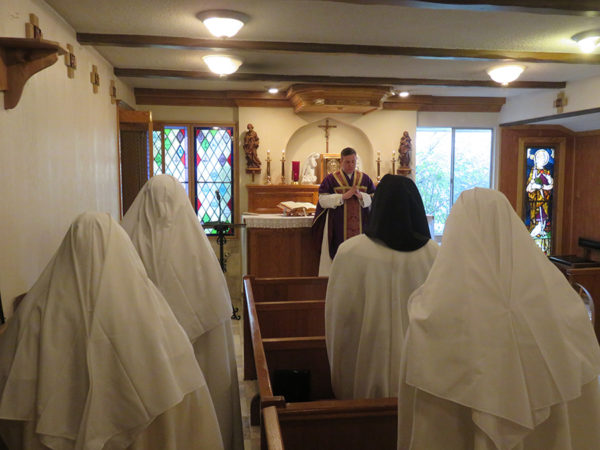 Fr Stephen with the Canonesses of Tehachapi